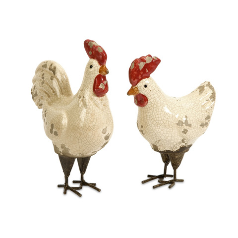 IMAX Worldwide Home - Quinn Roosters - Set of 2 - 50297-2