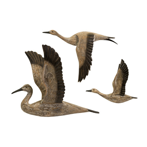 IMAX Worldwide Home - Reeds Migration Wood Wall Decor - Set of 3 - 50895-3