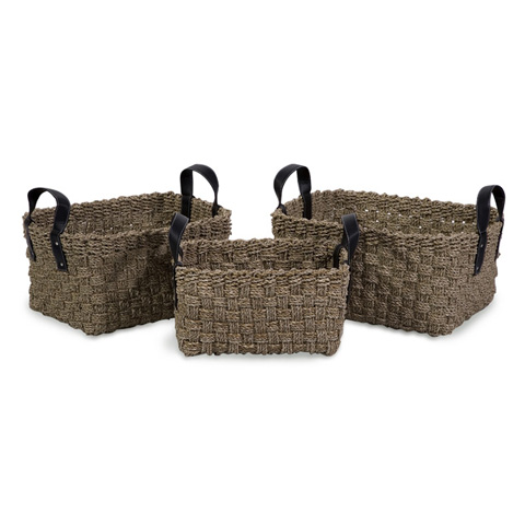 IMAX Worldwide Home - Natural Seagrass Baskets with Handles - Set of 3 - 51333-3