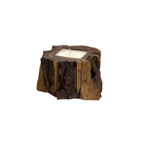 IMAX Worldwide Home - Small Teak Wood Candle - 51366