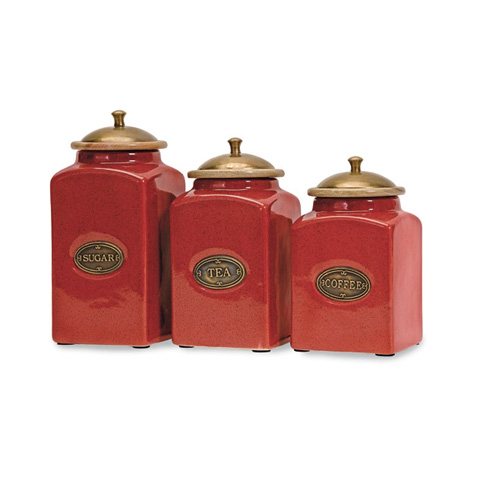 IMAX Worldwide Home - Red Ceramic Canisters - Set of 3 - 5268-3