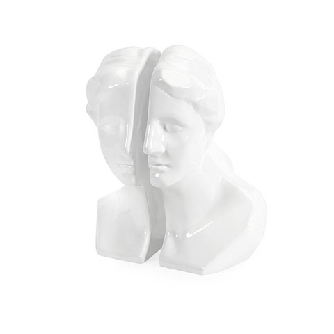 IMAX Worldwide Home - White Greek Lady Bookends - Set of 2 - 53050-2