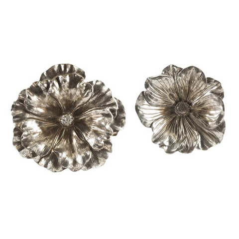 IMAX Worldwide Home - Natalia Stick Silver Flowers - Set of 2 - 53058-2