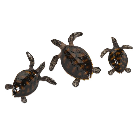 IMAX Worldwide Home - Swanson Sea Turtle Wall Decor - Set of 3 - 53078-3