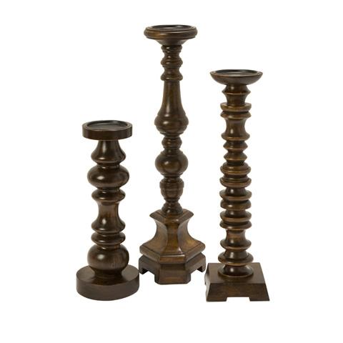 IMAX Worldwide Home - Nilay Wood Candleholders  - Set of 3 - 5536-3