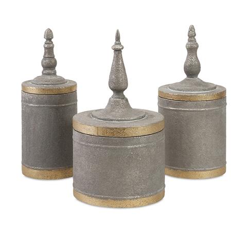 IMAX Worldwide Home - Katrina Metal Lidded Boxes - Set of 3 - 56389-3