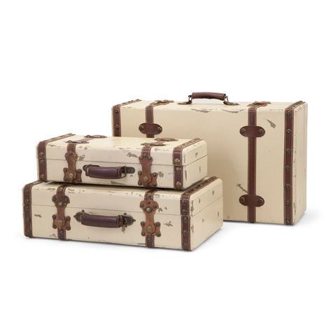 IMAX Worldwide Home - Antique Ivory Suitcases - Set of 3 - 6013-3
