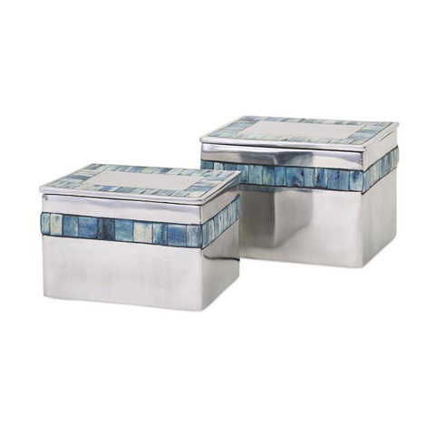 IMAX Worldwide Home - Blue Mother of Pearl Aluminum Boxes - Set of 2 - 60153-2
