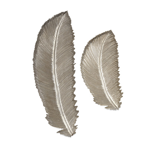 IMAX Worldwide Home - Eshe Carved Feathers - Set of 2 - 61165-2