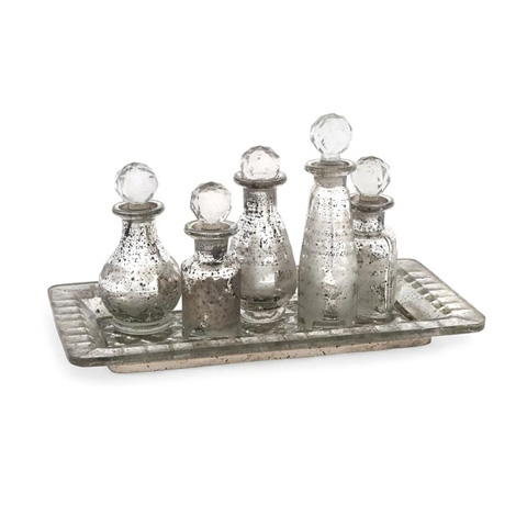 IMAX Worldwide Home - Macaire Mini Bottles w/ Tray - Set of 6 - 62161-6