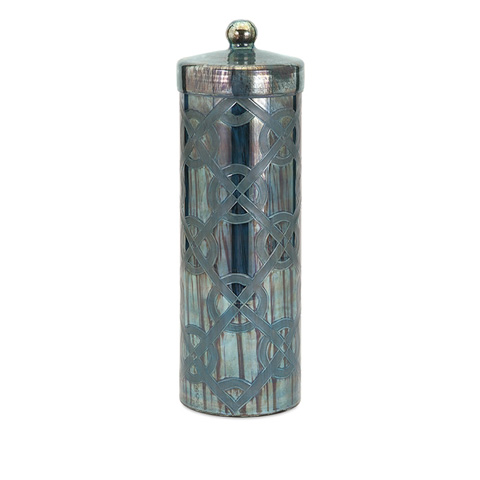 IMAX Worldwide Home - Piper Blue Large Etched Canister - 62209