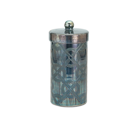IMAX Worldwide Home - Piper Blue Small Etched Canister - 62210