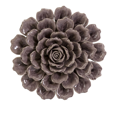 IMAX Worldwide Home - Magdalyn Purple Ceramic Wall Flower - 64300