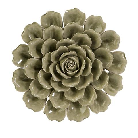 IMAX Worldwide Home - Magdalyn Green Ceramic Wall Flower - 64302