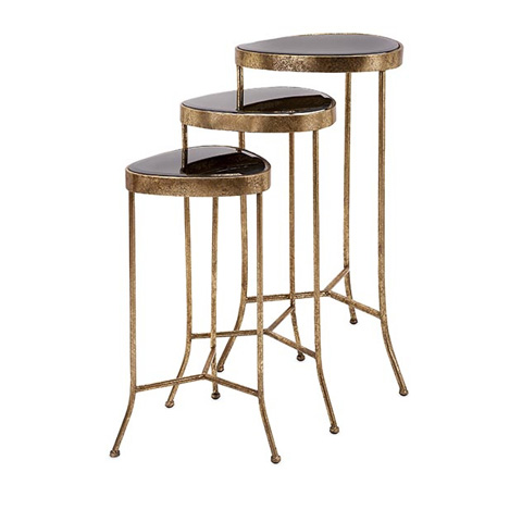 IMAX Worldwide Home - Harlow Black Mirror Nested Table - Set of 3 - 65162-3