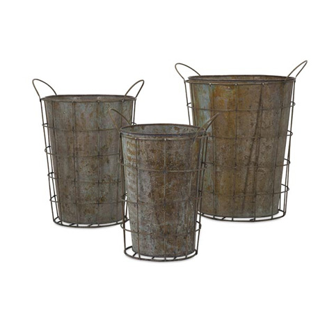 IMAX Worldwide Home - Leah Metal Flower Pots - Set of 3 - 65219-3