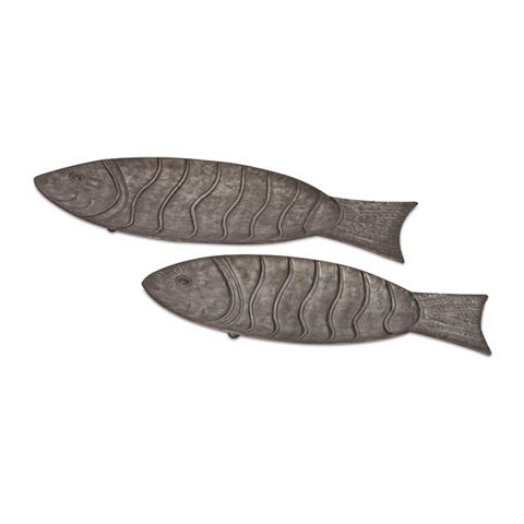 IMAX Worldwide Home - Carino Galvanized Fish Trays - Set of 2 - 65237-2