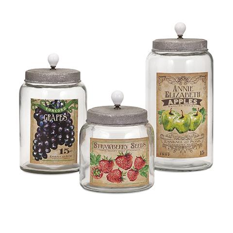 IMAX Worldwide Home - Bailey Lidded Glass Jars - Set of 3 - 65256-3
