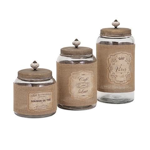 IMAX Worldwide Home - Carley Lidded Glass Jars - Set of 3 - 65260-3