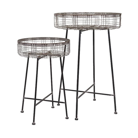 IMAX Worldwide Home - Pitzer Round Wire Plant Stands - Set of 2 - 65340-2