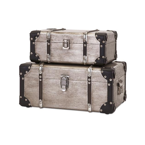 IMAX Worldwide Home - Baker Aluminum Clad Suitcases - Set of 2 - 65399-2