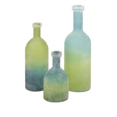 IMAX Worldwide Home - Alena Green and Blue Glass Bottles - Set of 3 - 65452-3