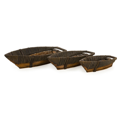 IMAX Worldwide Home - Hampton Boat Willow Trays - Set of 3 - 67055-3