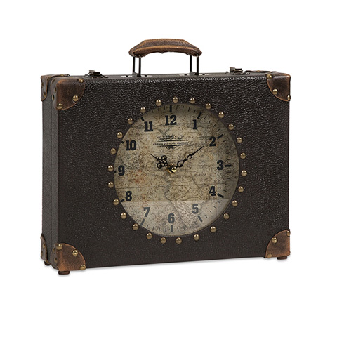 IMAX Worldwide Home - World Map Suitcase Clock - 68171
