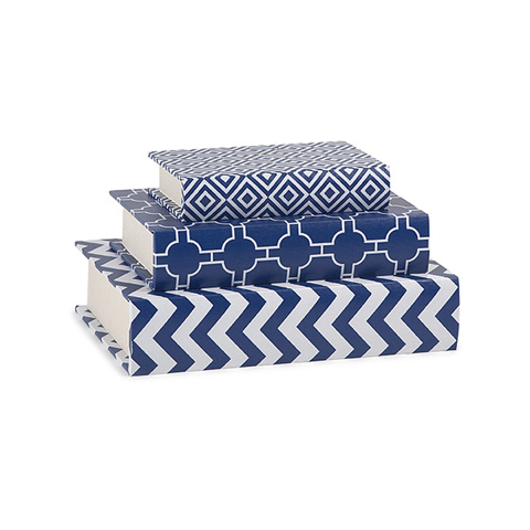 IMAX Worldwide Home - Essentials Marine Blue Book Boxes - Set of 3 - 68200-3