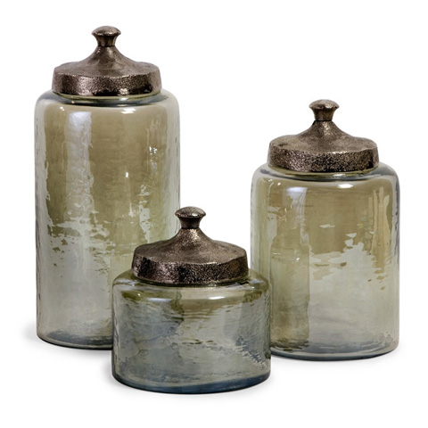 IMAX Worldwide Home - Round Green Luster Canisters - Set of 3 - 6971-3