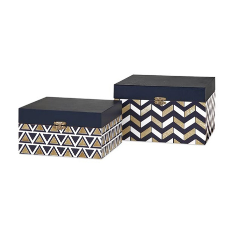 IMAX Worldwide Home - Nora Navy And Gold Boxes - Set of 2 - 71104-2