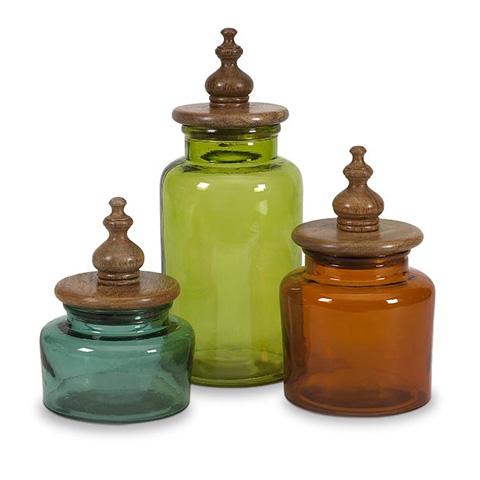 IMAX Worldwide Home - Saburo Glass and Wood Lid Canisters - Set of 3 - 71723-3