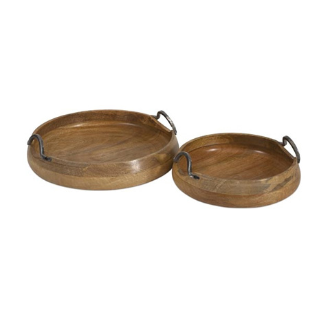 IMAX Worldwide Home - Vallari Round Wood Trays - Set of 2 - 71730-2