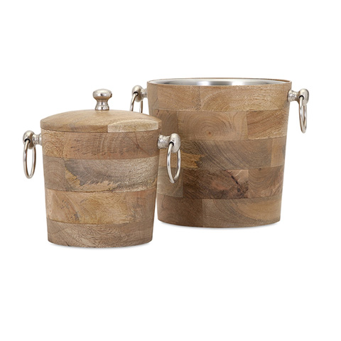 IMAX Worldwide Home - Makana Wood Bar Buckets - Set of 2 - 71806-2