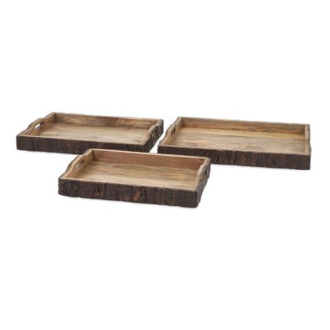 IMAX Worldwide Home - Nakato Wood Bark Serving Trays - Set of 3 - 71822-3