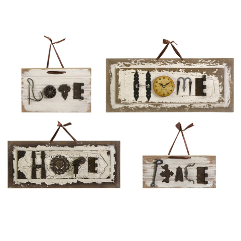 IMAX Worldwide Home - Ella Elaine Found-Object Wall Plaques - Set of 4 - 72046-4