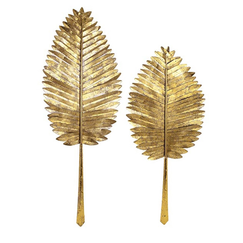 IMAX Worldwide Home - Milano Gold Leaf Wall Leaves - Set of 2 - 72166-2