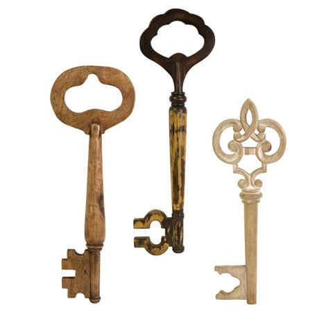 IMAX Worldwide Home - Mason Wood Wall keys - Set of 3 - 73011-3