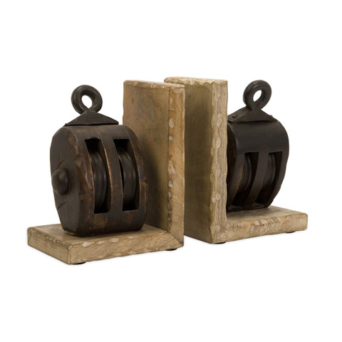 IMAX Worldwide Home - Mason Wood Pulley Bookends - 73015