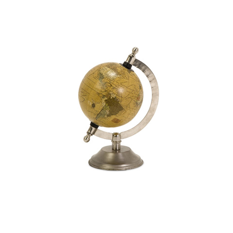 IMAX Worldwide Home - Colony Globe With Nickel Finish Base - 73025