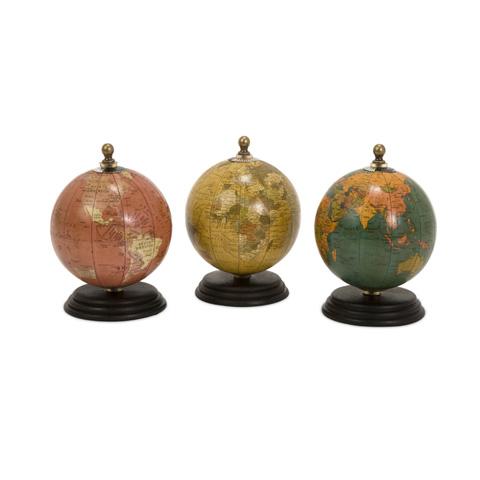 IMAX Worldwide Home - Antique Finish Mini Globe On Wood Base - Set of 3 - 73027-3
