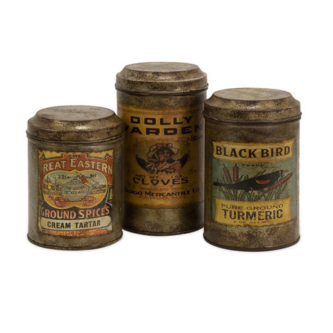 IMAX Worldwide Home - Vintage Label Metal Canisters - Set of 3 - 73050-3