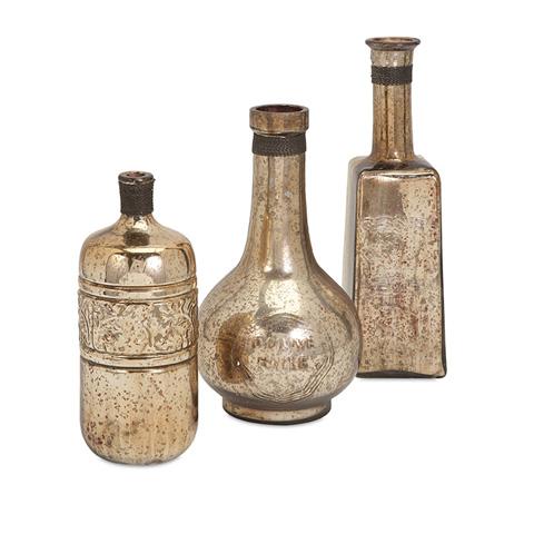 IMAX Worldwide Home - Ari Mercury Glass Bottles - Set of 3 - 73315-3