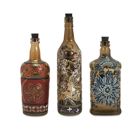 IMAX Worldwide Home - Reclaimed Hand-Painted Bottles - Set of 3 - 73319-3