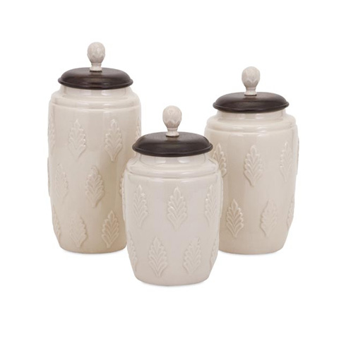IMAX Worldwide Home - Beth Kushnick Cream Lidded Canisters - Set of 3 - 73359-3