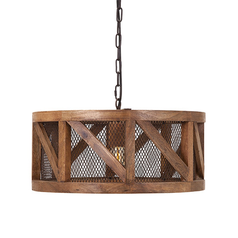 IMAX Worldwide Home - Kennedy Wood and Wire Pendant Light - 73368