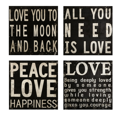 IMAX Worldwide Home - Collier Black and White Wall Quotes - Set of 4 - 74066-4