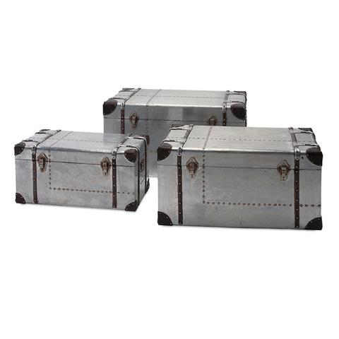 IMAX Worldwide Home - Brewer Aluminum Trunks - Set of 3 - 74408-3