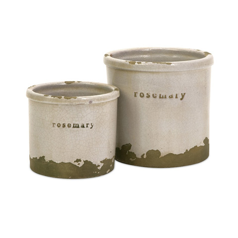 IMAX Worldwide Home - Rosemary Herb Pots - Set of 2 - 76005-2