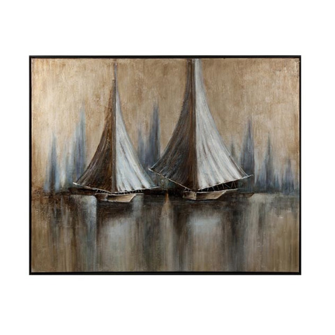IMAX Worldwide Home - CKI Twin Sails Framed Oil Painting - 76193